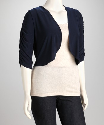 Navy Ruched Shrug - Plus
