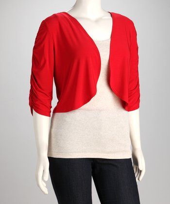 Red Plus-Size Shrug