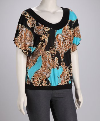 Aqua & Black Scroll Plus-Size Top