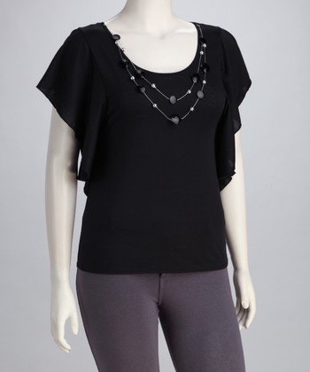 Black Necklace Plus-Size Angel-Sleeve Top