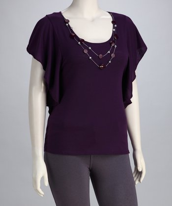 Purple Necklace Plus-Size Angel-Sleeve Top
