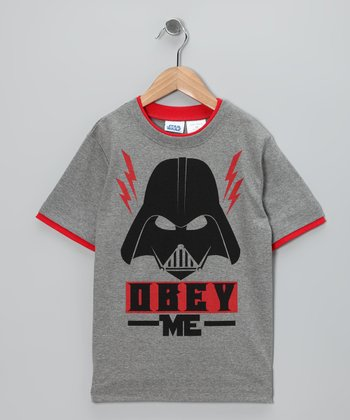 Gray 'Obey Me' Darth Vader Tee - Kids