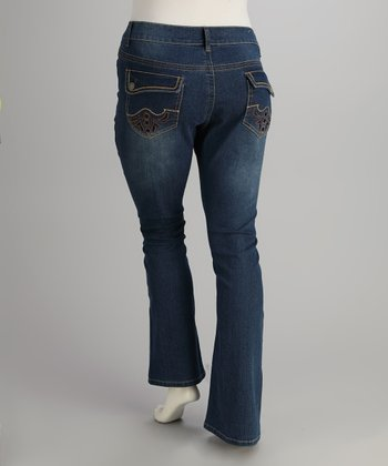 Light Blue Embroidered Bootcut Jeans - Plus