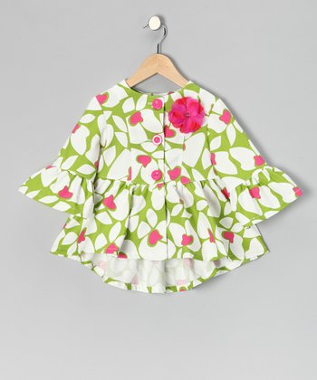 Lime Big Flower Peplum Jacket - Toddler & Girls