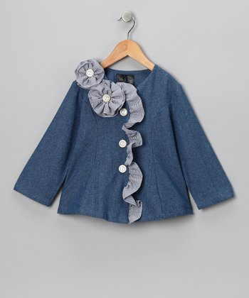 Blue Denim Flower Ruffle Jacket - Infant, Toddler & Girls