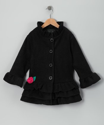 Black Rosette Ruffle Fleece Coat - Toddler & Girls