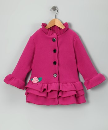 Hot Pink Rosette Ruffle Fleece Coat - Toddler & Girls