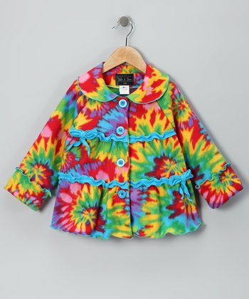 Stella & Stevie Tie-Dye Bow Fleece Coat - Infant, Toddler & Girls