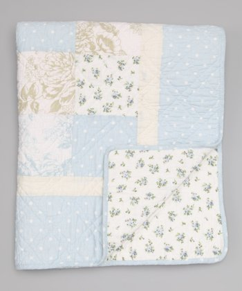 Light Blue Patch Toddler Blanket