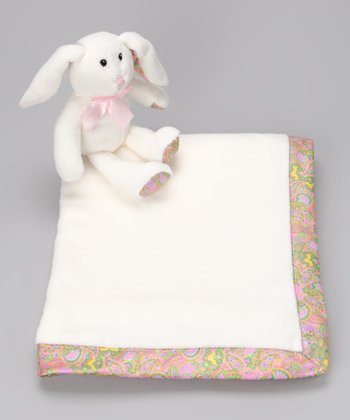 Pink Fleece Blanket & Plush Bunny