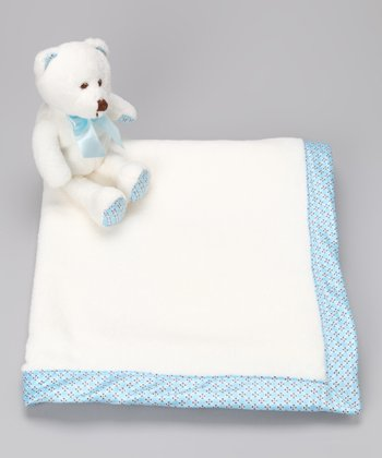 Blue & White Stroller Blanket & Plush Bear