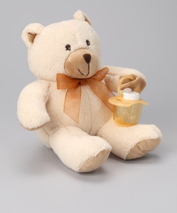 Tan Pacifier Bear Plush Toy
