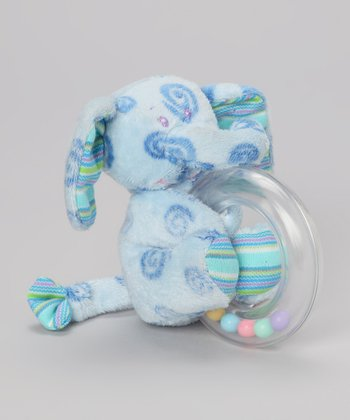Blue Curlicue Elephant Rattle Ring Plush Toy
