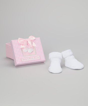 Pink & White 'Baby's First Shoes' Keepsake Box & Booties