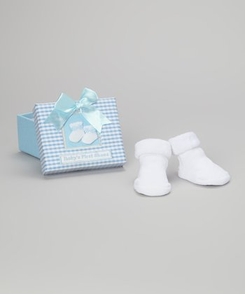 Blue & White 'Baby's First Shoes' Keepsake Box & Booties