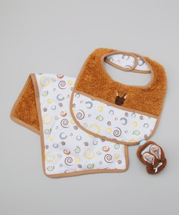 Brown Kangaroo Bib Set