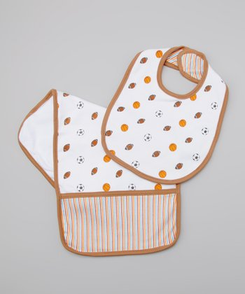 Brown & White Sports Bib & Burp Cloth
