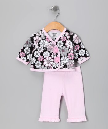 Black & Pink Flowers Wrap Top & Pants