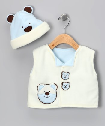 Blue Bear Fleece Vest & Beanie