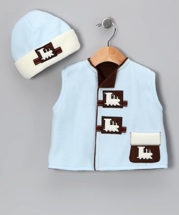 Blue Train Fleece Vest & Beanie