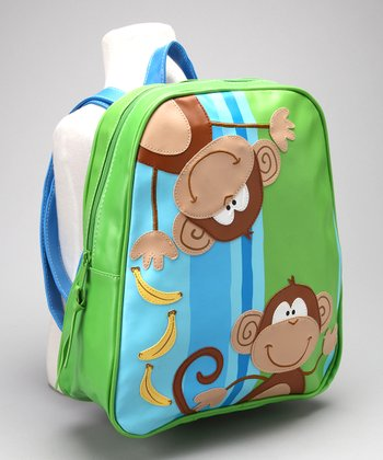 Blue & Green Monkey Go Go Backpack