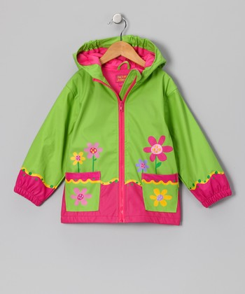 Green Flower Raincoat - Toddler