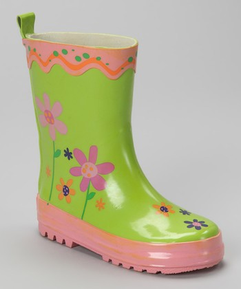 Green Flower Rain Boot