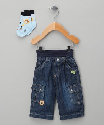 Classic Wash Teddy Bear Jeans & Socks - Infant
