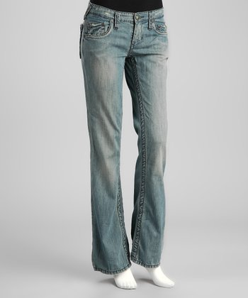 Blue Rinse Crow Distressed Bootcut Jeans
