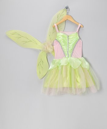 Green & Pink Fairy Dress & Wings - Girls