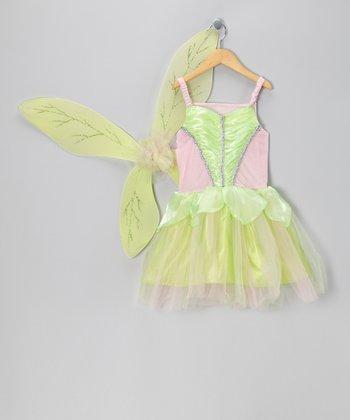 Green & Pink Fairy Dress & Wings - Girls