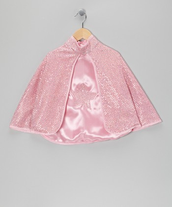 Pink Reversible Sequin Star Cape - Kids