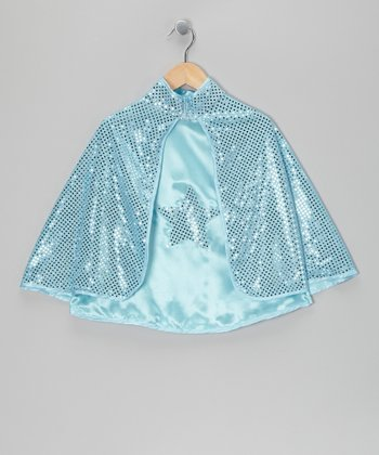 Light Blue Reversible Sequin Star Cape - Toddler & Girls