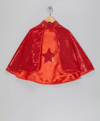 Red Reversible Sequin Star Cape - Kids