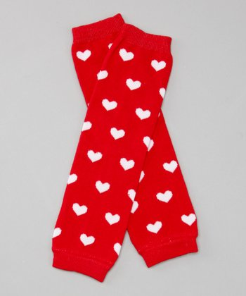 Red & White Heart Leg Warmers