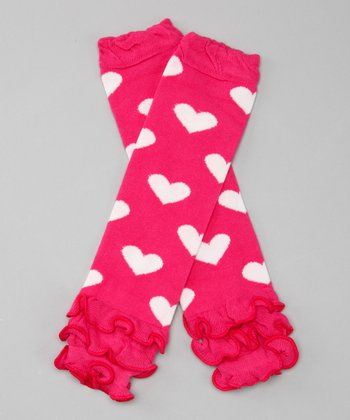 Hot Pink Ruffle Heart Leg Warmers