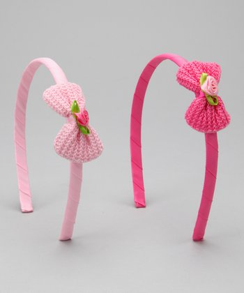 Pink Bow Headband Set