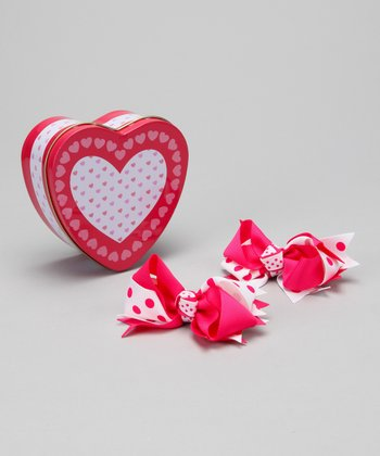 Hot Pink Heart Tin & Bow Set
