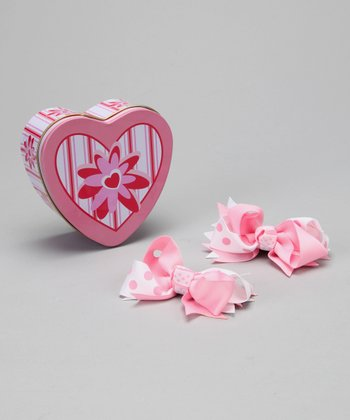 Pink Heart Tin & Bow Set