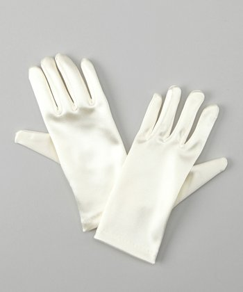 Off-White Satin Gloves