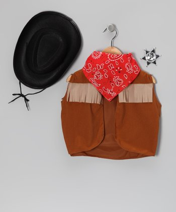 Black & Red Cowboy Dress-Up Set - Kids