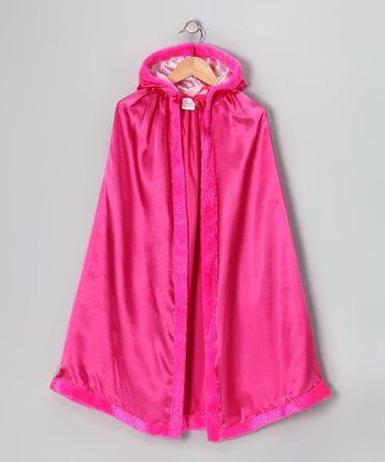 Hot Pink Satin Faux Fur Cloak - Kids