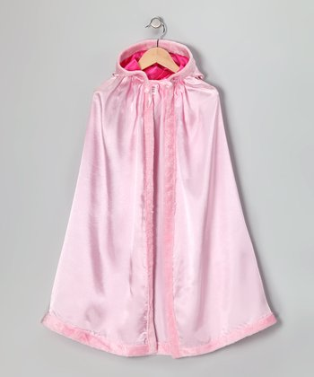 Pink Satin Faux Fur Cloak - Kids