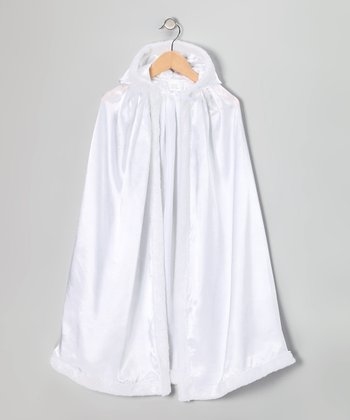 White Satin Faux Fur Cloak
