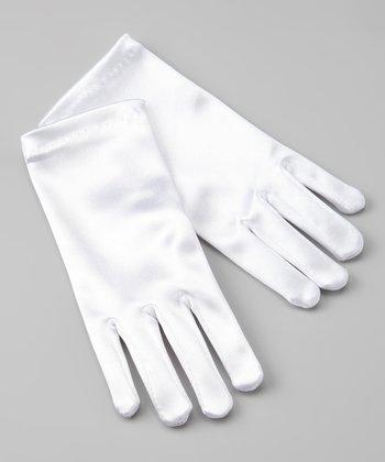 White Satin Gloves