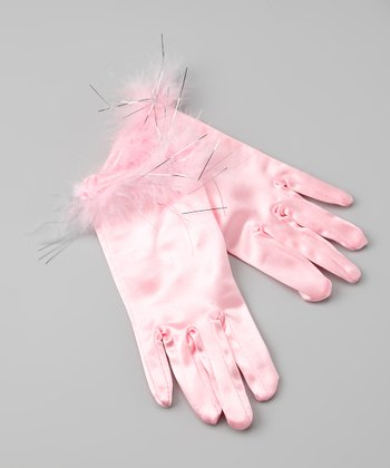 Pink Satin Faux Fur Gloves