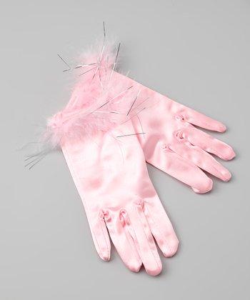 Pink Satin Faux Fur Gloves