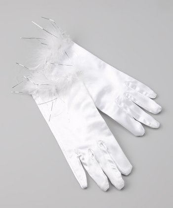White Satin Faux Fur Gloves