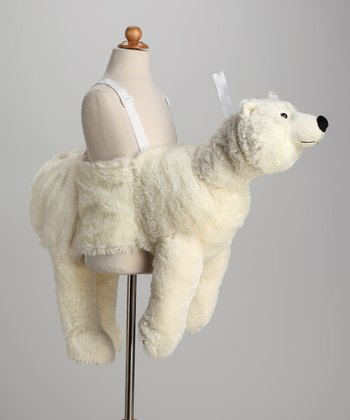 White Plush Ride-On Polar Bear