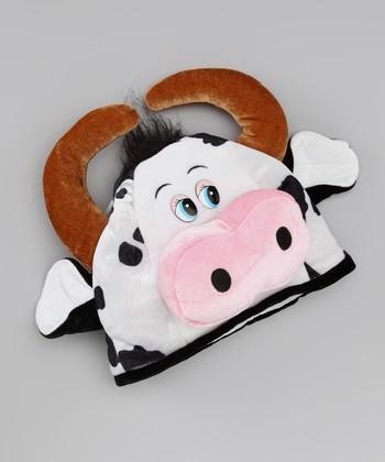 Brown & Black Plush Cow Hat